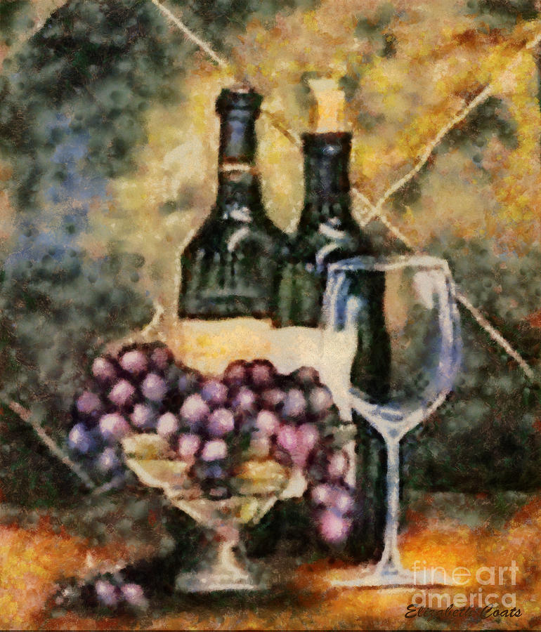 Wine And Grapes Painting by Elizabeth Coats