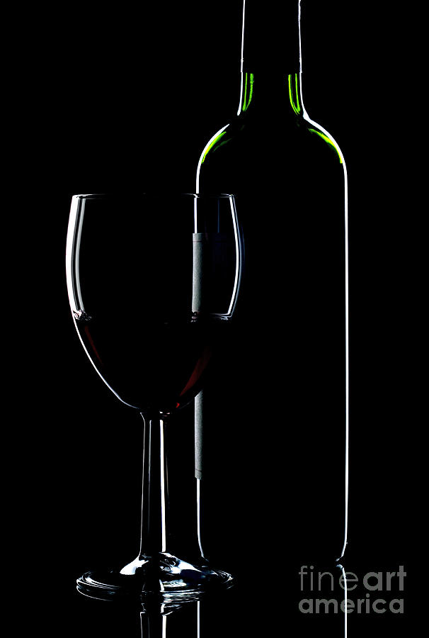 Wine Bottle And Glass Photograph