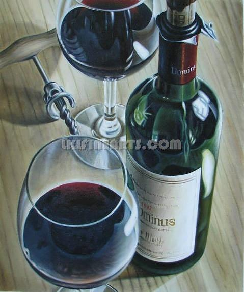 Wine Bottle Still Life Painting Painting