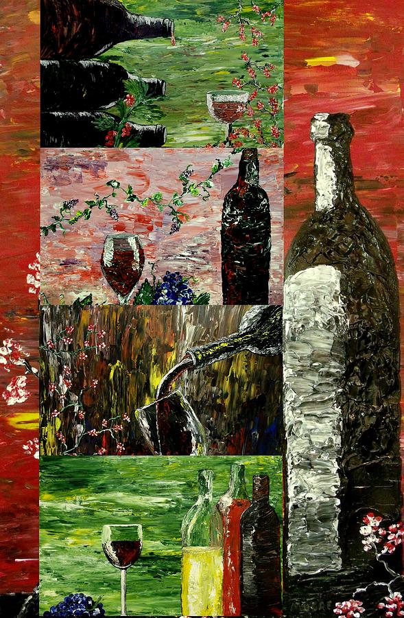 Wine Collage Painting  - Wine Collage Fine Art Print