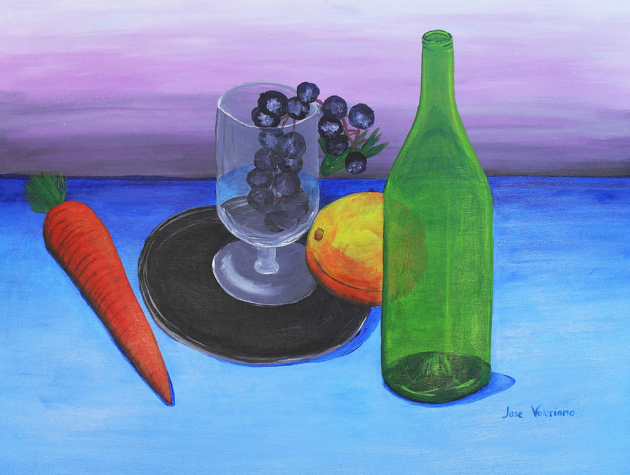 Wine Glass And Fruits Painting