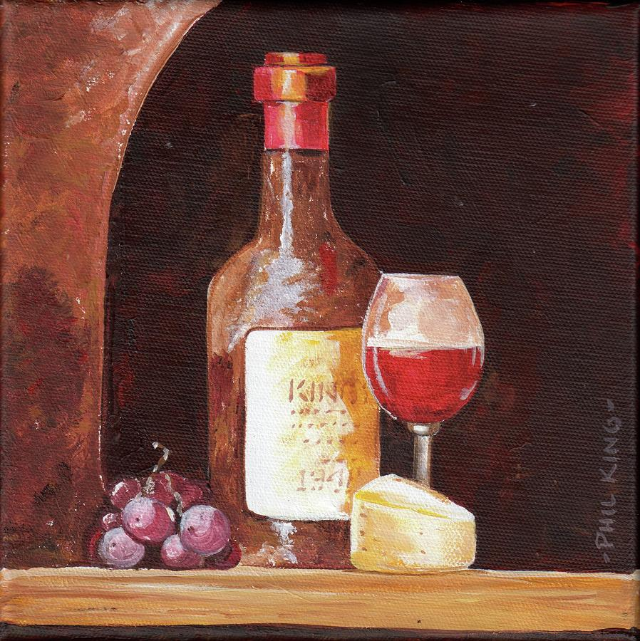 Wine Grapes Cheese by Phil King