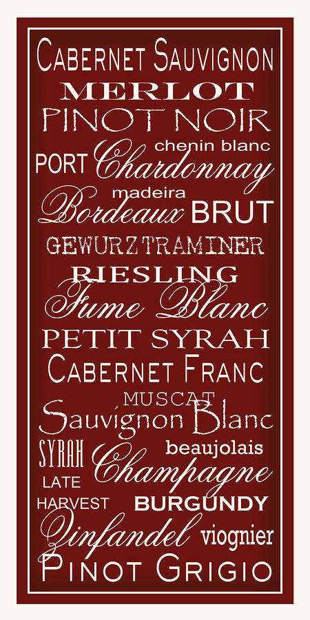 Wine List Red Digital Art  - Wine List Red Fine Art Print