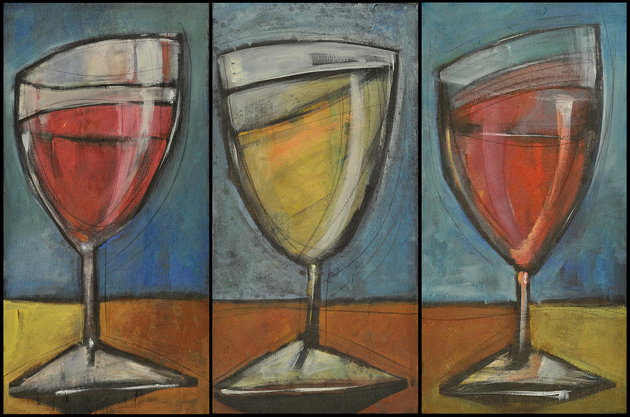 Wine Trio Option 2 Painting  - Wine Trio Option 2 Fine Art Print