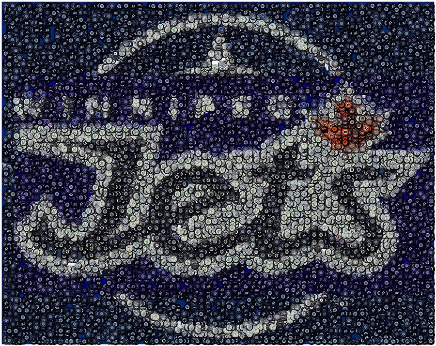 Winnipeg Jets Puck Mosaic Digital Art  - Winnipeg Jets Puck Mosaic Fine Art Print