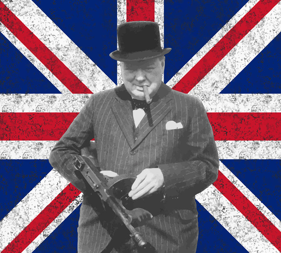 Winston Churchill And His Flag Painting  - Winston Churchill And His Flag Fine Art Print