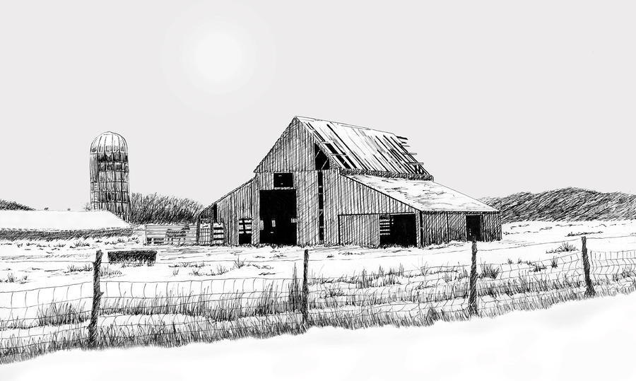 Winter Barn Drawing  - Winter Barn Fine Art Print