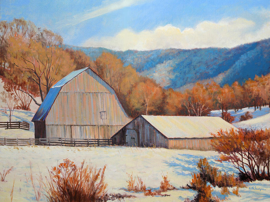Winter Barns Painting  - Winter Barns Fine Art Print
