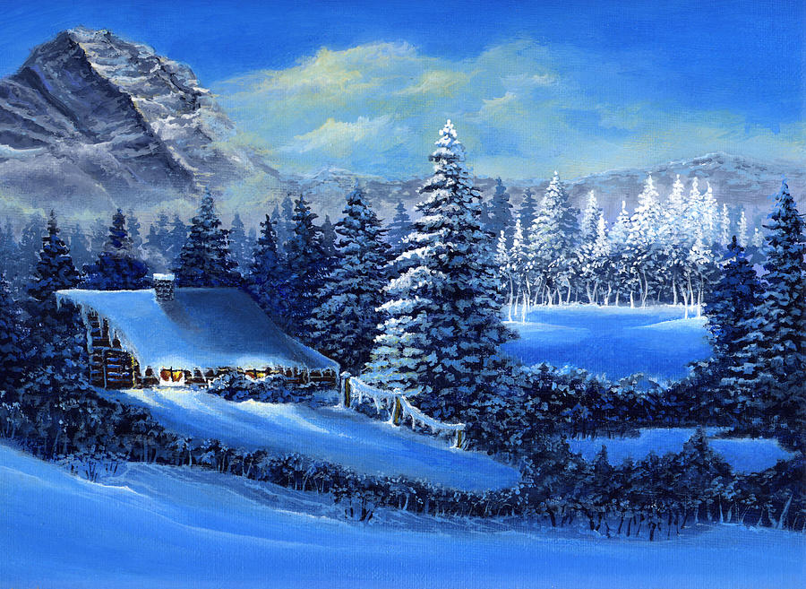 Cabin Painting - Winter Cabin by Bonnie Cook