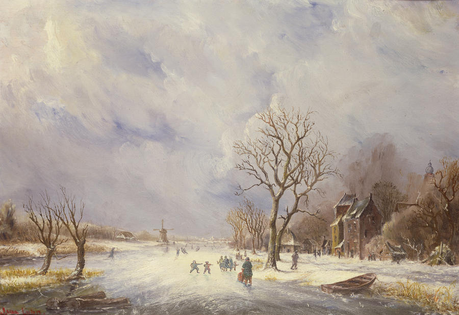 Winter Canal Scene Painting
