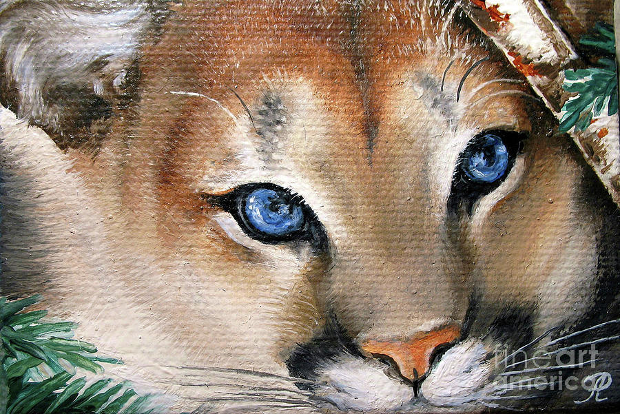Winter Cougar Painting  - Winter Cougar Fine Art Print