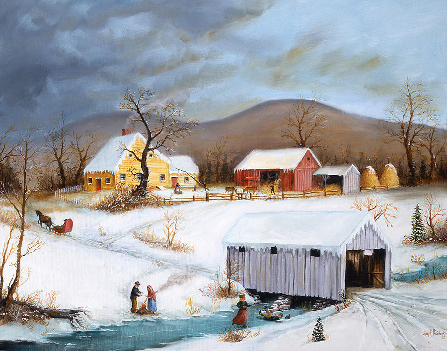 Winter Crossing Painting  - Winter Crossing Fine Art Print
