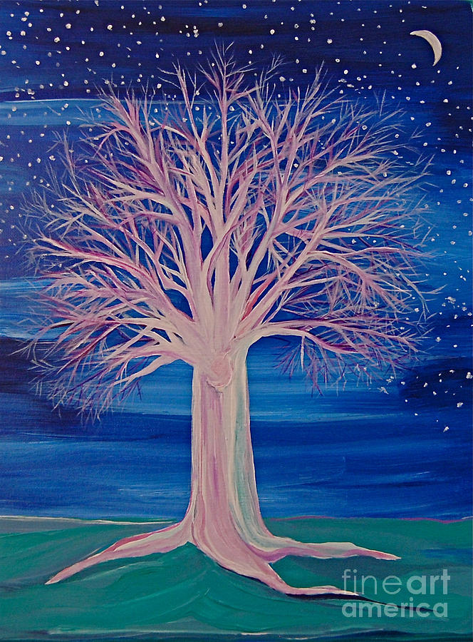 Winter Fantasy Tree Painting  - Winter Fantasy Tree Fine Art Print