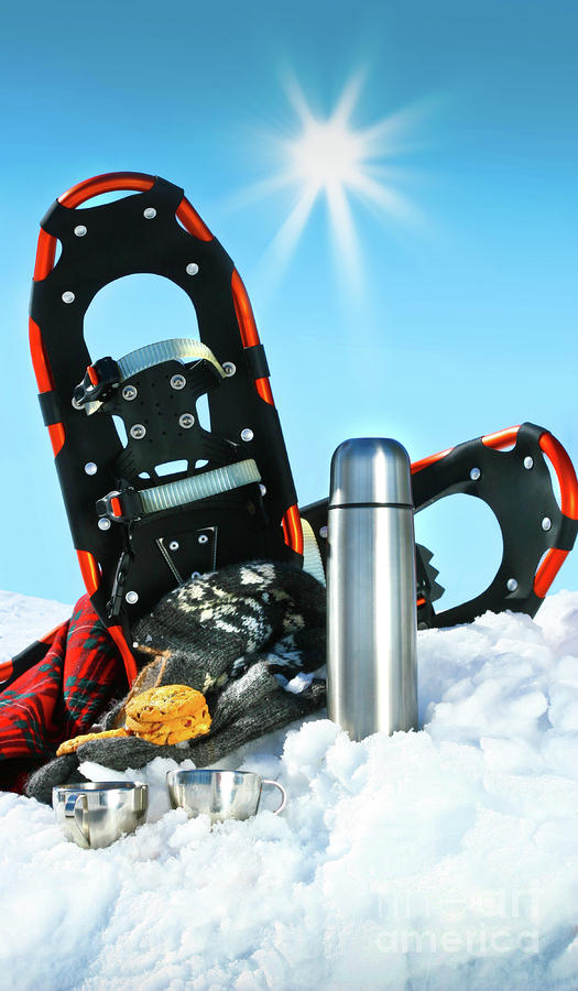 Blue Photograph - Winter Fun With Hot Chocolate And Cookies In The Snow by Sandra Cunningham