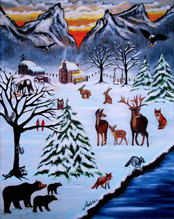 Winter Painting - Winter Gathering by Adele Moscaritolo