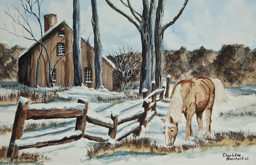 Winter Grazing  Painting  - Winter Grazing  Fine Art Print