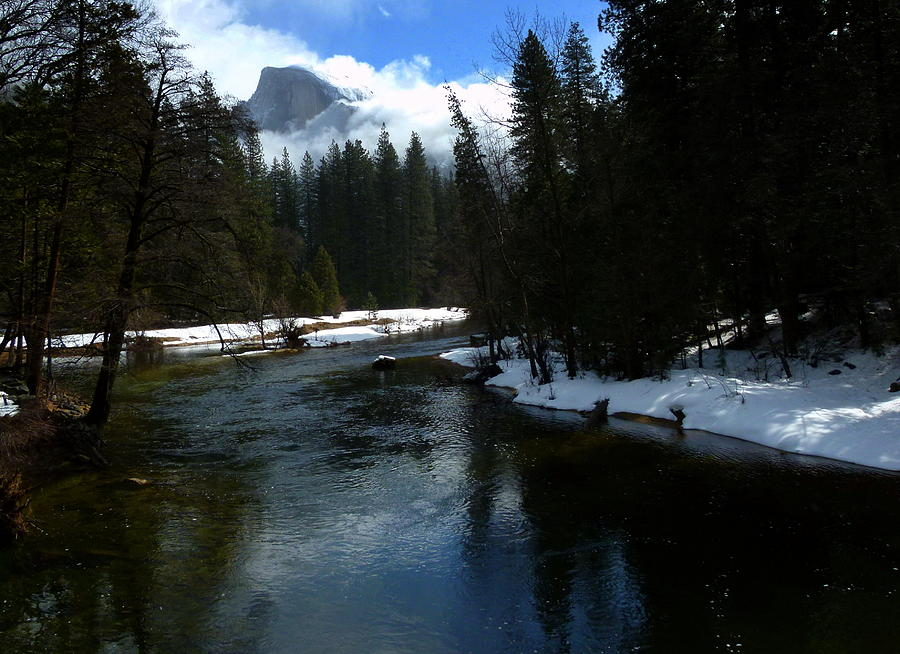 Winter Half Dome And The Merced River Photograph  - Winter Half Dome And The Merced River Fine Art Print