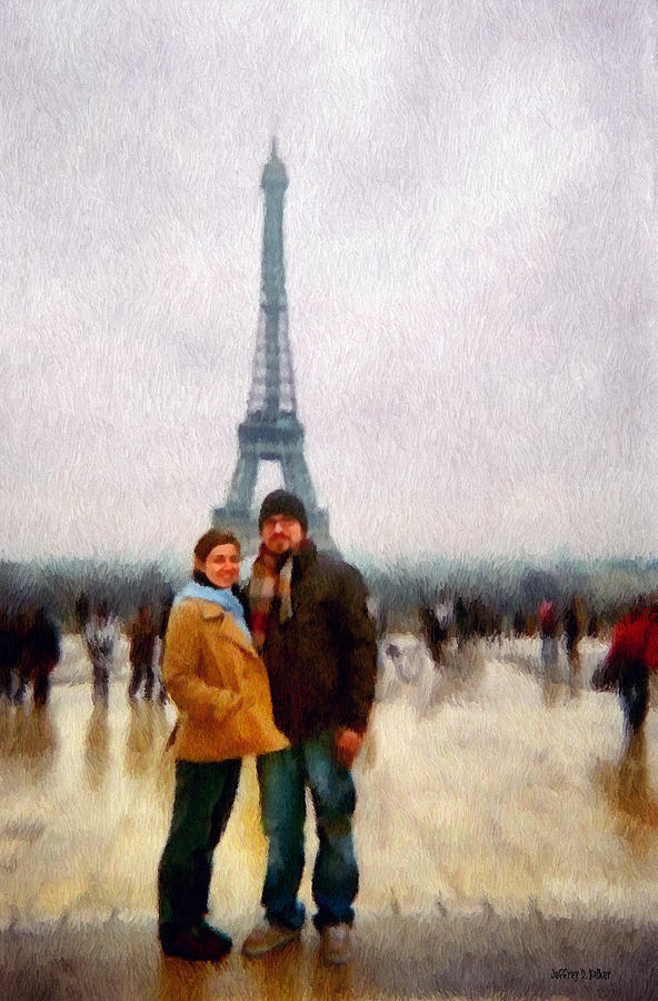 Winter Honeymoon In Paris Painting  - Winter Honeymoon In Paris Fine Art Print