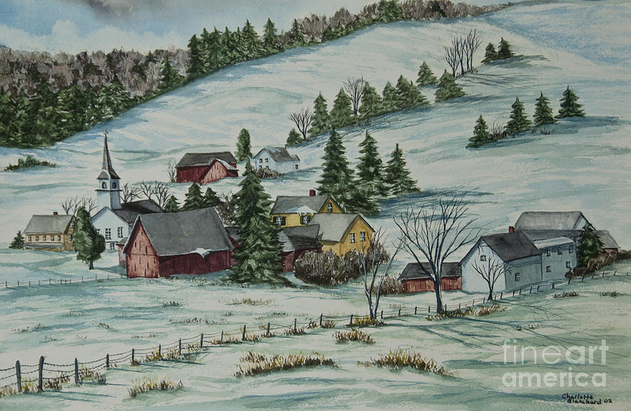 Winter In East Chatham Vermont Painting  - Winter In East Chatham Vermont Fine Art Print