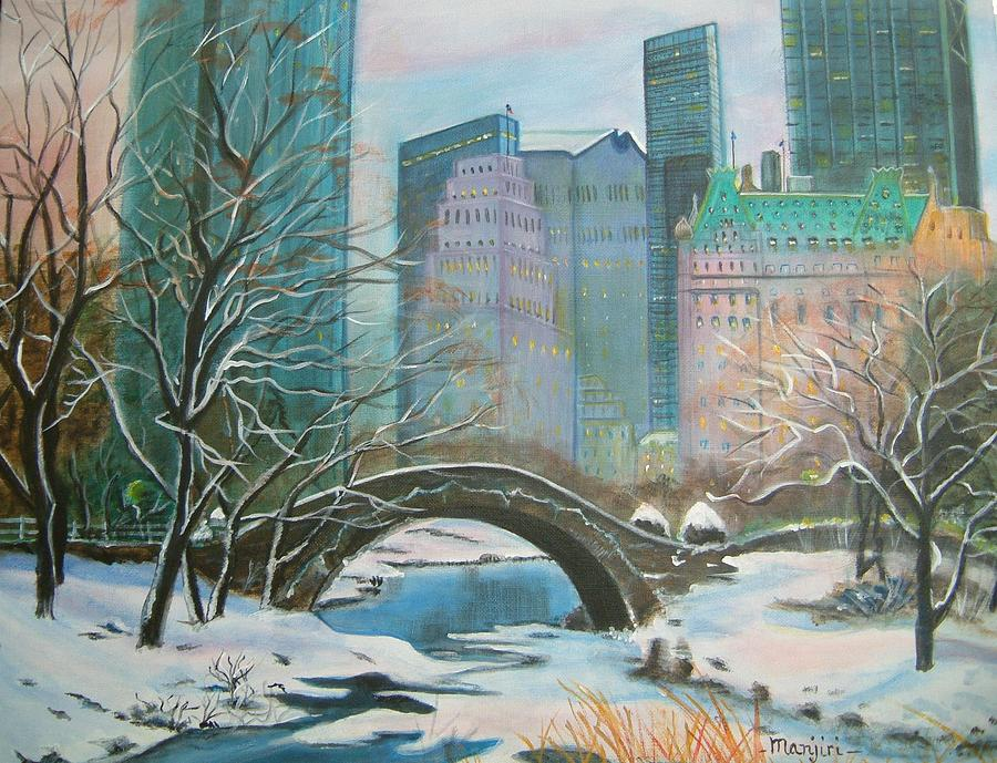 Winter In New York Painting by Manjiri Kanvinde Central Park Winter Painting
