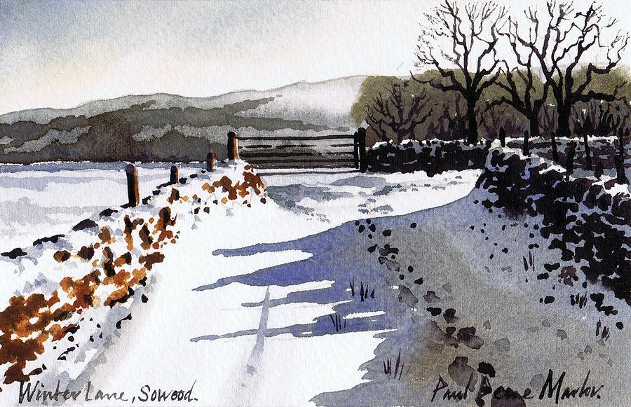 Winter Lane Sowood Painting  - Winter Lane Sowood Fine Art Print