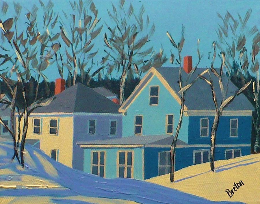 Winter Linden Street Painting  - Winter Linden Street Fine Art Print