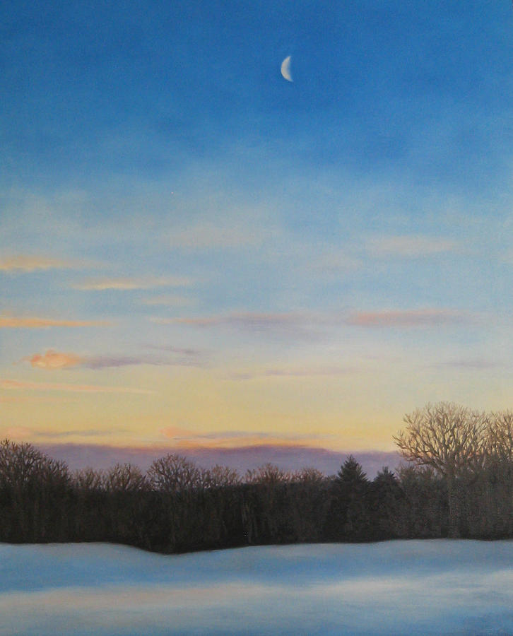 Winter Morning With Crescent Painting  - Winter Morning With Crescent Fine Art Print