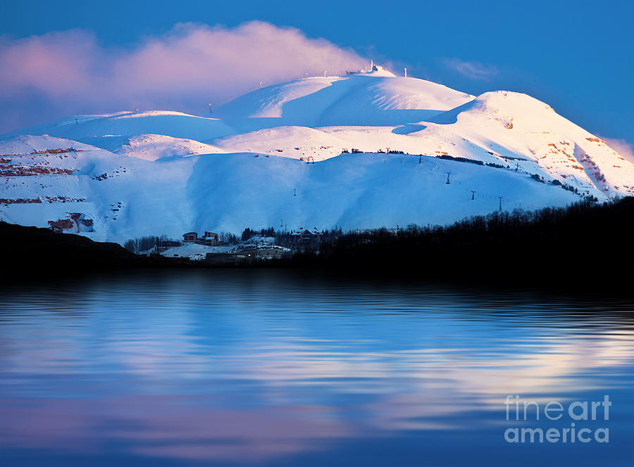 Winter Mountains And Lake Snowy Landscape Photograph