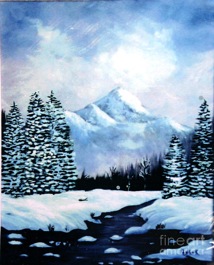 Winter Mountains Painting  - Winter Mountains Fine Art Print