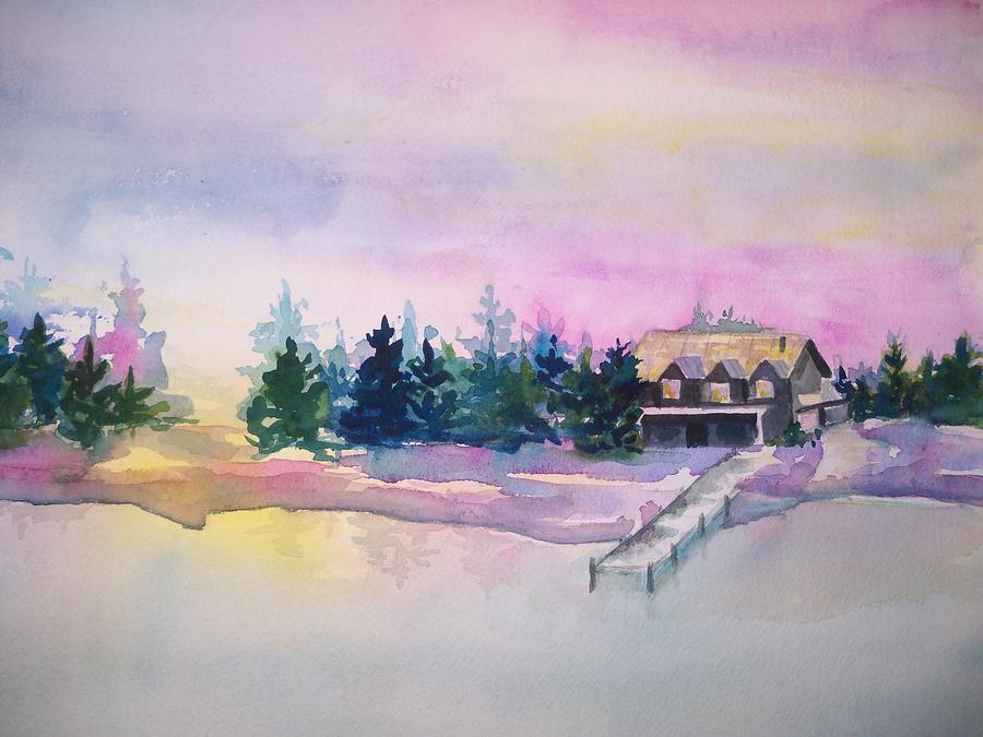 Winter On The Lake Painting  - Winter On The Lake Fine Art Print