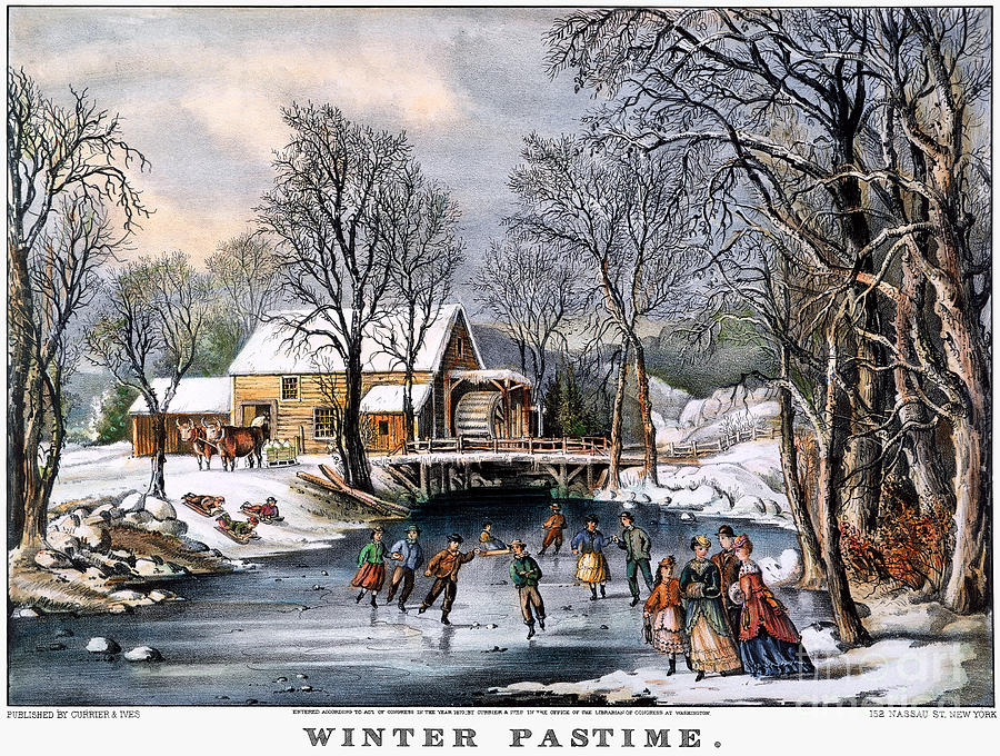 Winter Pastime, 1870 Photograph  - Winter Pastime, 1870 Fine Art Print