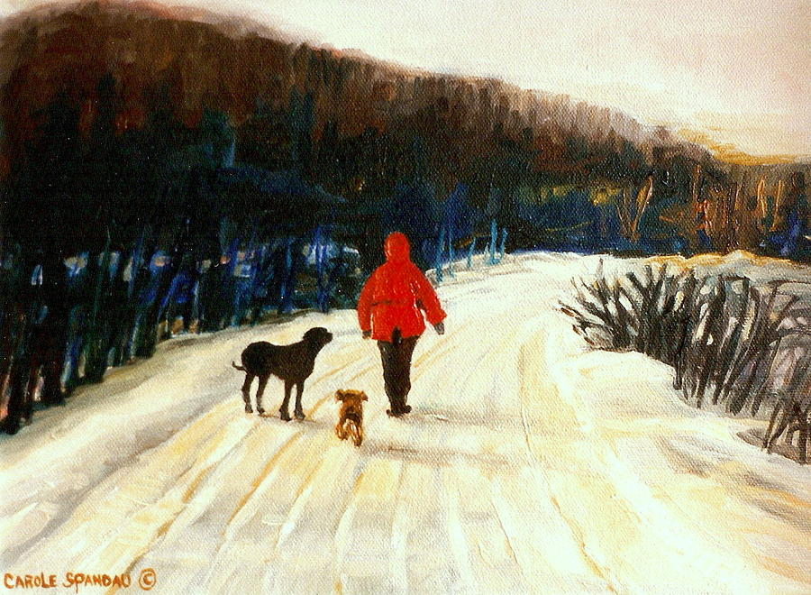 Winter Road Quebec Laurentian Landscape Painting  - Winter Road Quebec Laurentian Landscape Fine Art Print