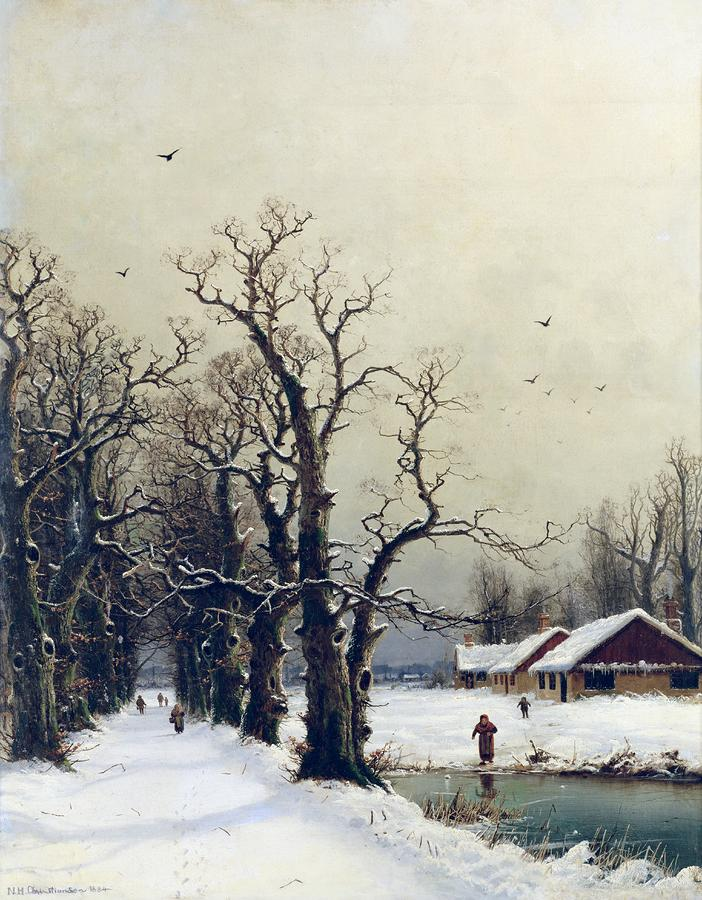 Winter Scene Painting  - Winter Scene Fine Art Print
