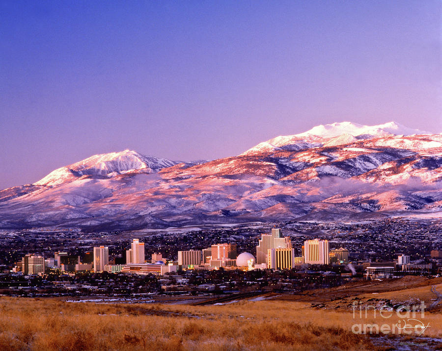 Winter Skyline Of Reno Nevada Photograph  - Winter Skyline Of Reno Nevada Fine Art Print