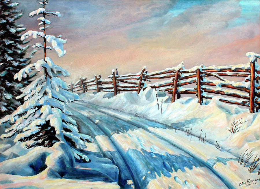 Winter Snow Tracks Painting  - Winter Snow Tracks Fine Art Print