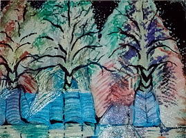 Winter Trees With Hidden  Horns Mixed Media