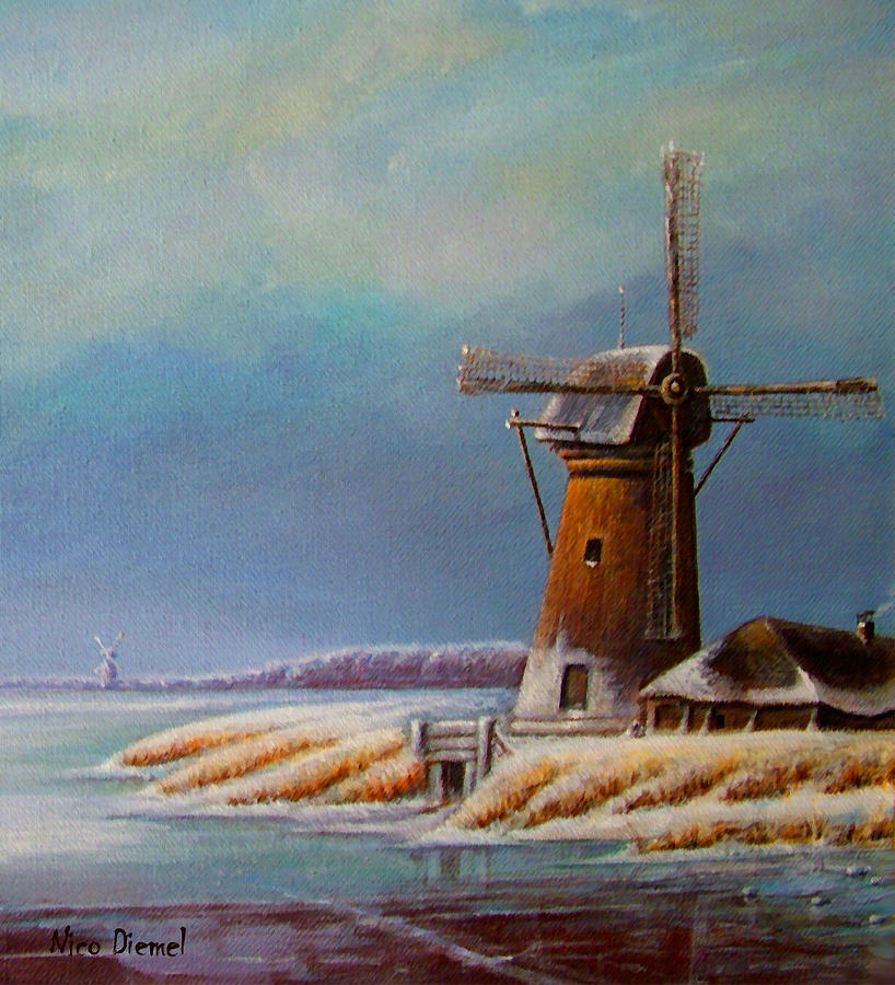 Winter Windmill Painting  - Winter Windmill Fine Art Print