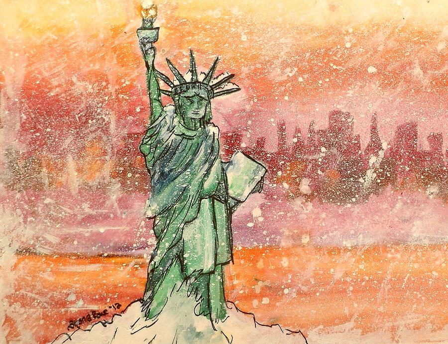 Winter With Lady Liberty Painting
