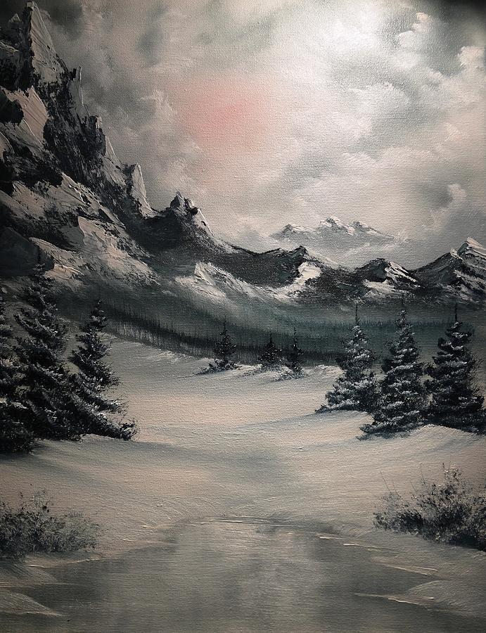 Wintery Mountain Painting