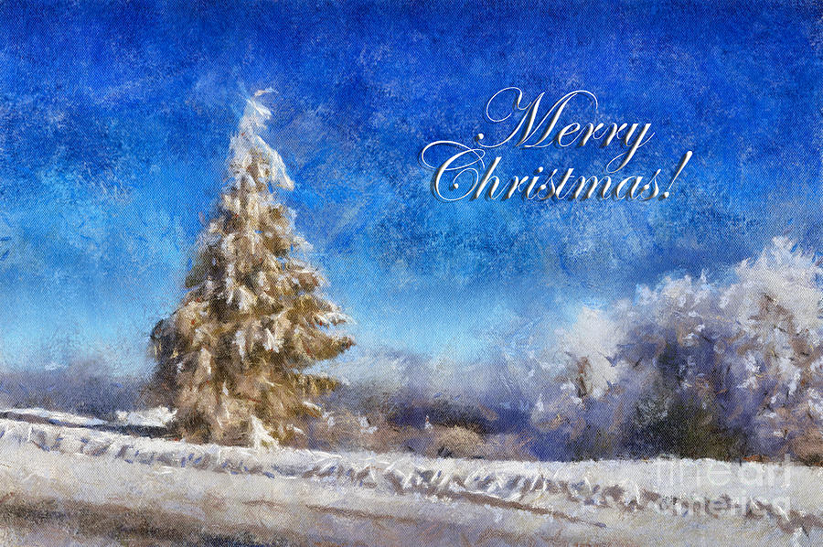Wintry Christmas Tree Greeting Card Digital Art  - Wintry Christmas Tree Greeting Card Fine Art Print