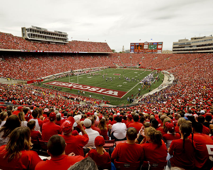 Wisconsin Badgers Play In Camp Randall Stadium Photograph  - Wisconsin Badgers Play In Camp Randall Stadium Fine Art Print