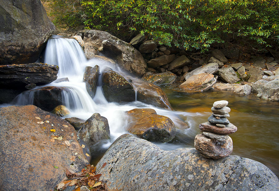 Wnc Flowing Zen Waterfalls Landscape - Harmony Waterfall Photograph
