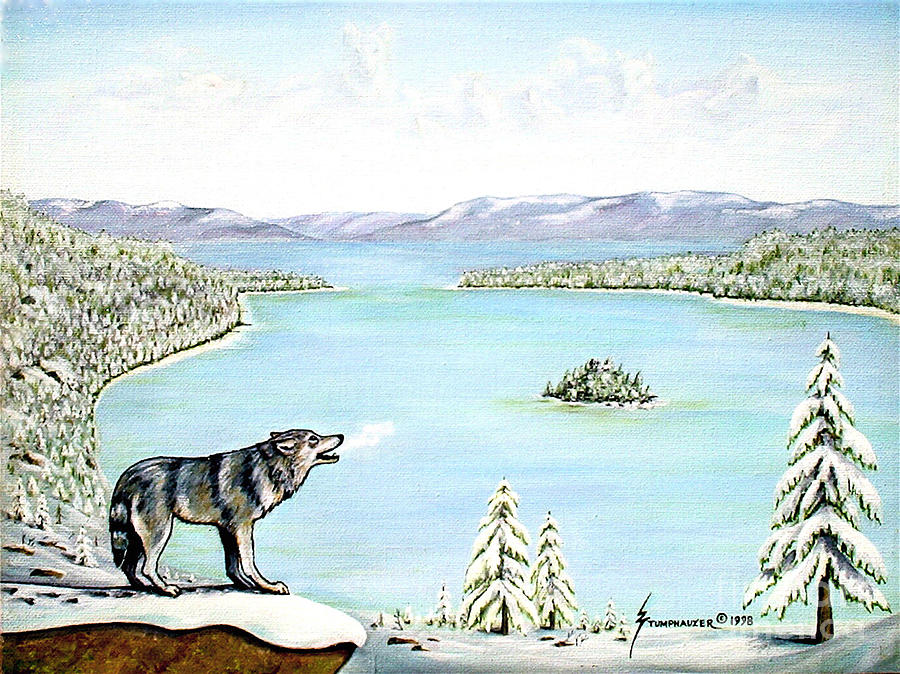 Wolf At Lake Tahoe Painting