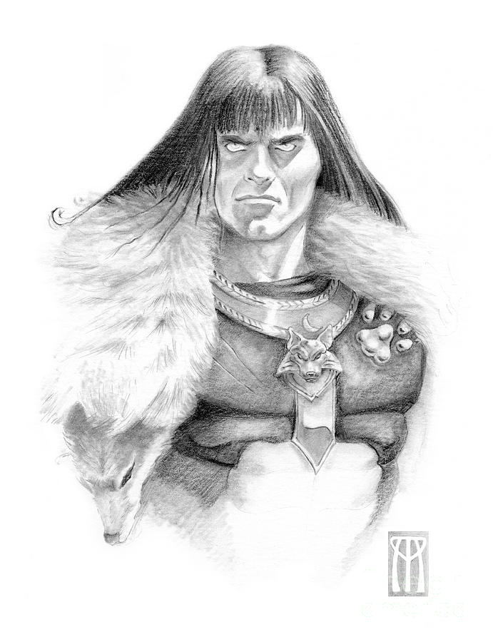 Wolf Barbarian Drawing  - Wolf Barbarian Fine Art Print
