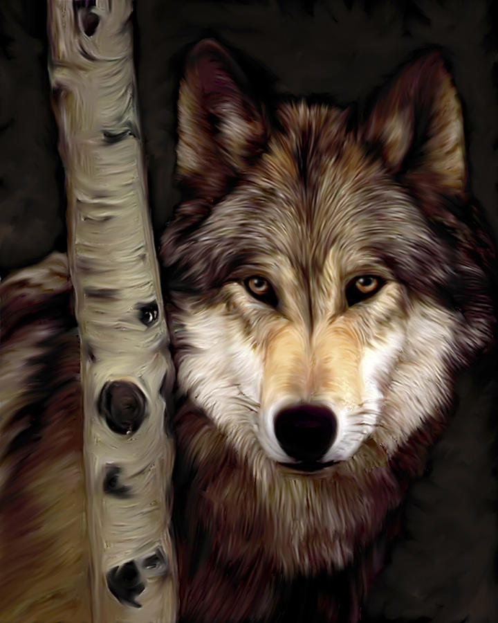 Wolf Behind Tree Painting
