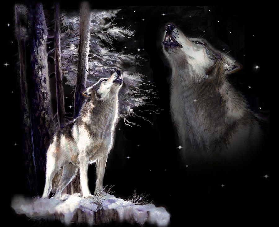 Wolf  Howling Memory Painting  - Wolf  Howling Memory Fine Art Print