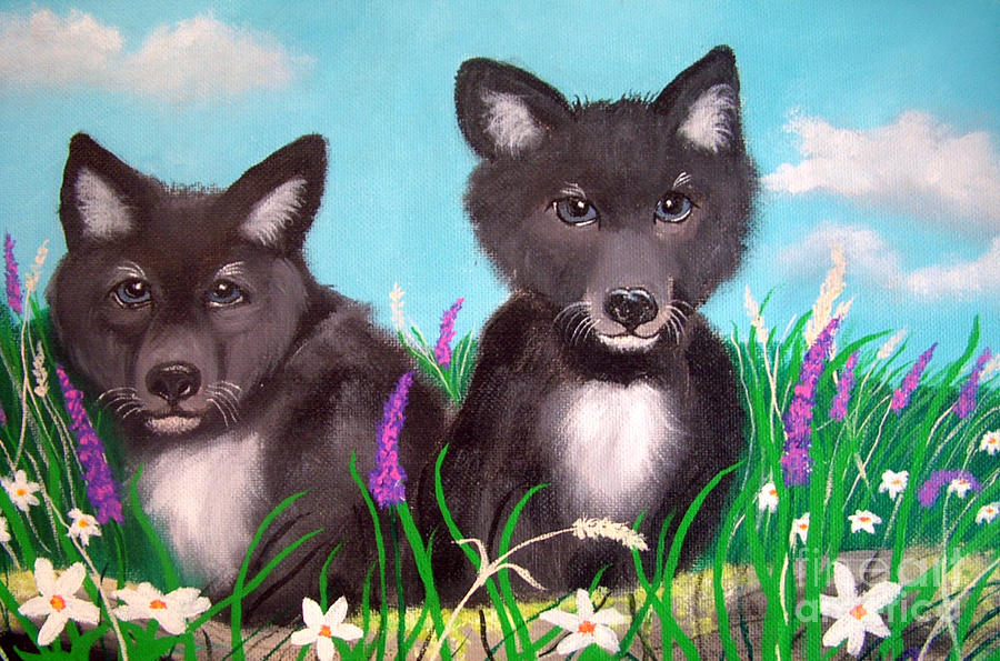 Wolf Pups Painting
