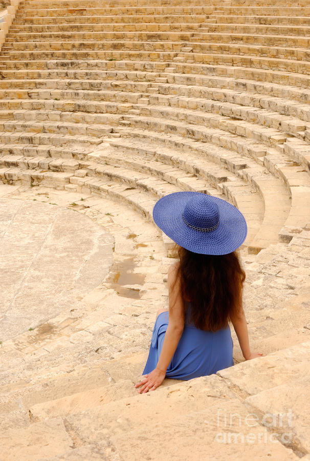 Woman At Greco-roman Theatre At Kourion Archaeological Site In C Photograph  - Woman At Greco-roman Theatre At Kourion Archaeological Site In C Fine Art Print