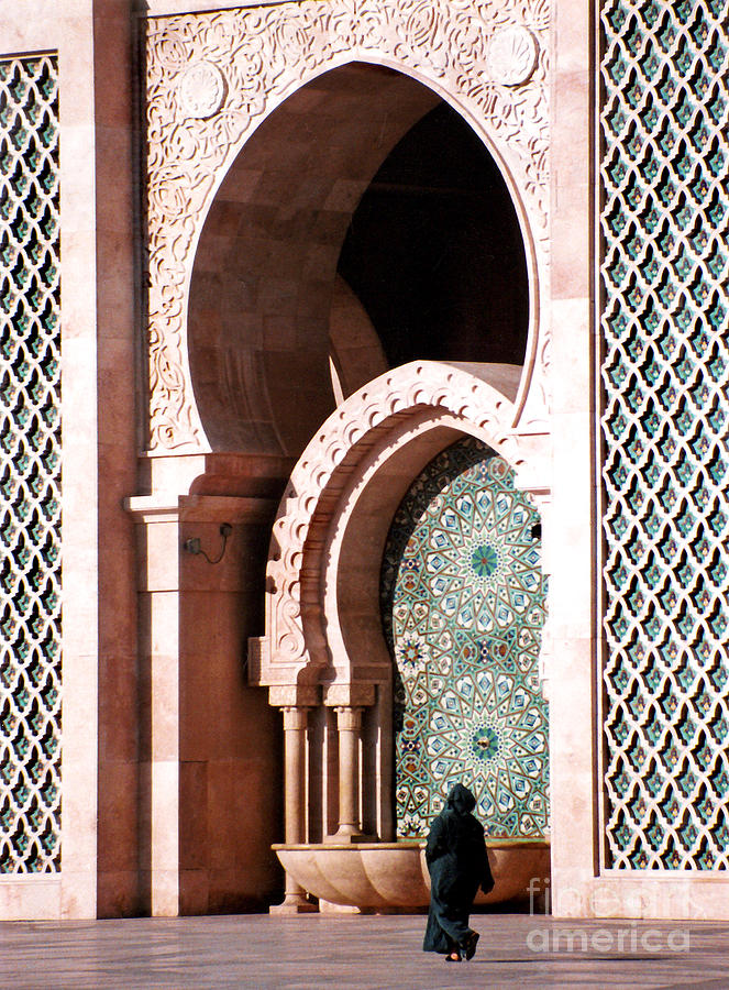 Woman At Mosque Casablanca Photograph  - Woman At Mosque Casablanca Fine Art Print