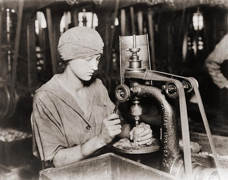Woman Countersinking A Detonator Tube Photograph